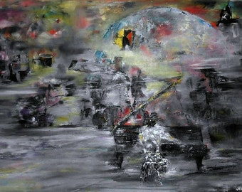 Mystical Jass.. ORIGINAL jazz band oil painting on canvas | jazz group | 16'' x 24'' (40cm x 60cm)/ FREE SHIPPING !