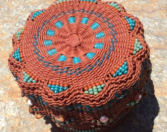 Terra Cotta by Twisted Spokes : Hand Woven Basket, Twined Basket