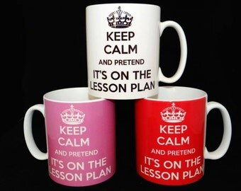 Keep Calm and Pretend its on the Lesson Plan Mug Teacher Gift