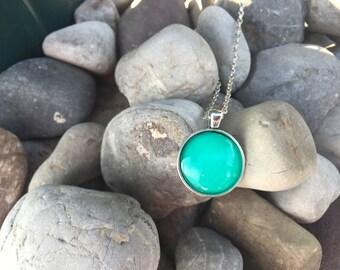 Turquoise Silver Circle Pendant