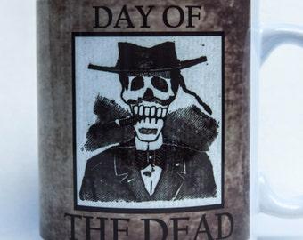 DAY of the DEAD mug - by TattooMugLady - Posada style!