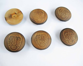 wooden buttons, shank buttons, 2 wooden button, face button, mask button, wood supply, boutons en bois