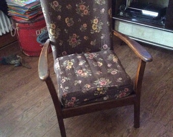 Mid century original cover vintage lounge chair with brown floral fabric