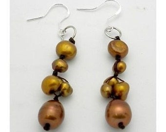 Handknotted Gold Freshwater Pearl Earrings