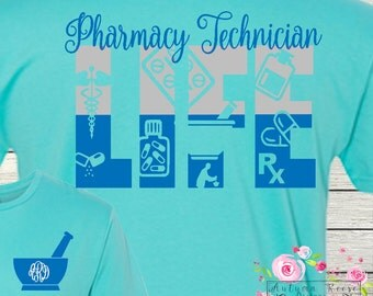 Pharmacy Technician Shirt Monogrammed Personalized Pharm Tech Personalized Customized