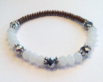FREE G-BOX,Hematite Bracelet,crystal and stone bracelet,crystal cut glass bracelet,yoga bracelet,boho bracelet,mala bracelet,white crystal b