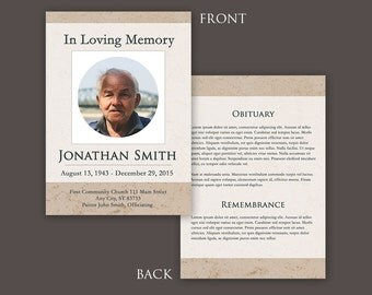 Funeral Program Template   Funeral Card   Photoshop PSD *INSTANT DOWNLOAD*  Funeral Flyer Template