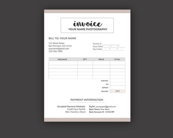 Invoice Template for Photographer, Photography Invoice Receipt Form - Photoshop PSD *INSTANT DOWNLOAD*
