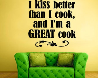 rvz821 Wall Vinyl Sticker Bedroom Decal I Kiss Better Words Quote