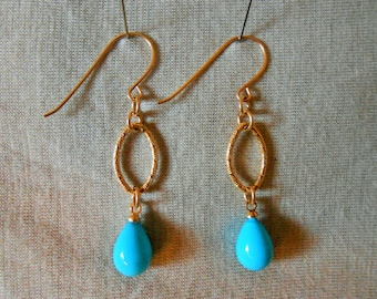 Turquoise and gold earrings, Turquoise and gold dangle earrings, Turquoise and gold drop earrings