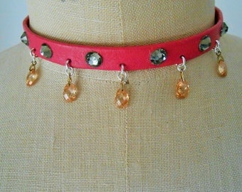 Pink Leather Necklace, Pink Leather Jewelry, Pink Leather Collar