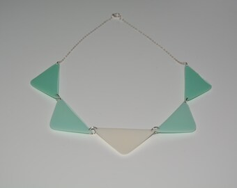 shades of green statement necklace, resin, sterling silver