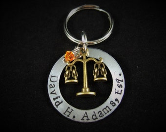Attorney Gift, Keychain or Necklace, Lawyer Gift, Judge Gift, Paralegal Gift, Court Reporter Gift, Law Clerk Gift, Law Student Gift