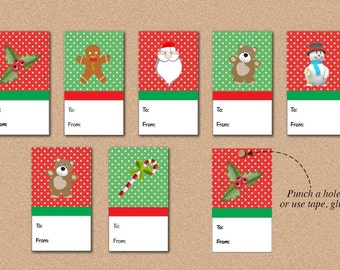 Christmas Tags, Instant Download, Printable Holiday Labels, Digital Red Green,Holiday Tags, Christmas Packaging