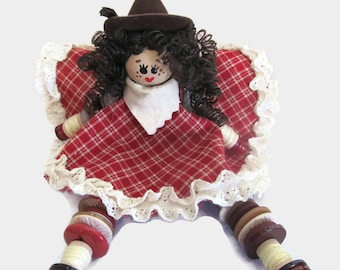 Cowgirl Button Doll - brunette