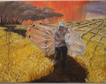 """Oil on canvas, """"In Fields of Fraud"""""""