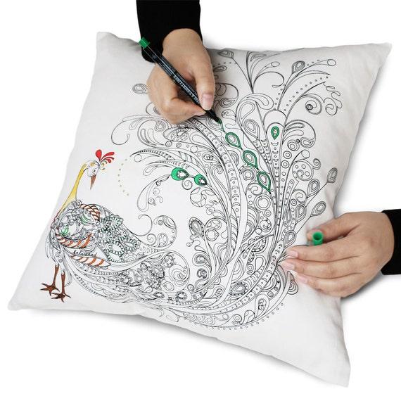 zanza - Zanza Cotton DIY Graffiti Pillow Case Coloring Cushion ...