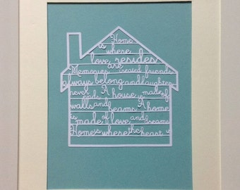 New home vintage papercut frame