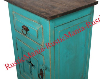 Rustic Turqouise End Table Night Stand Templar Cross Hand Made (6158)