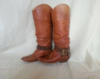 Vintage 70's Western Boots Genuine Leather Cow-Boy Boots Western Boho Style Bohemian Hippie Texas High Boots