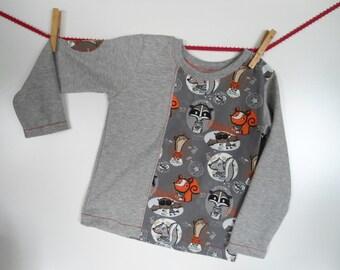 Kids long sleeve shirt sweater GR gray 98 forest animals