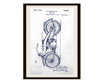 Motorcycle Patent Poster Print (Not Framed)