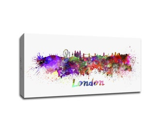 London Skyline Vibrant Watercolor Canvas Print