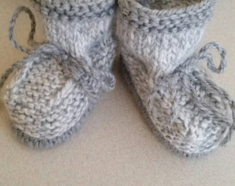 Knitted baby booties ,size 0-3  months