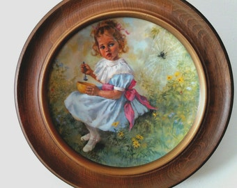 Little Miss Muffet Plate Limited Edition with frame ~ Third issue in the Mother Goose series ~ John McClelland