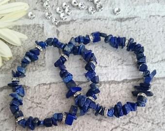 SUMMER SALE**Lapis lazuli crystal bracelet, lapis lazuli crystal healing bracelet, lapis lazuli bracelet, crystal chip bracelet,
