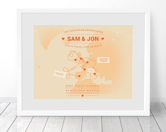 Alternative 40th Wedding Anniversary Gifts : ... Map Print, Wedding Gift, 1st Anniversary Gift, 40th Birthday Gift