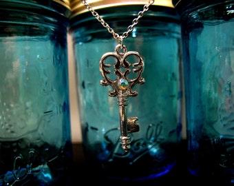Heart Skeleton Key Pendant Necklace