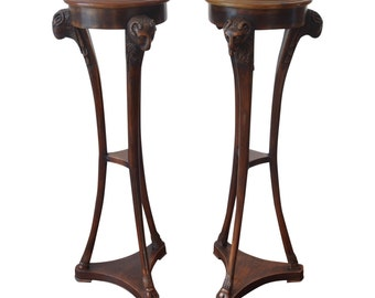 Pair of Maitland Smith Carved Leather Top Pedestals