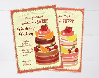 Printable Birthday Bakery Invitation with Coordinating Envelope - 5x7 - 2.00 USD per invitation