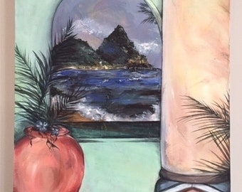 Original Painting - Tropical Window Scape 1