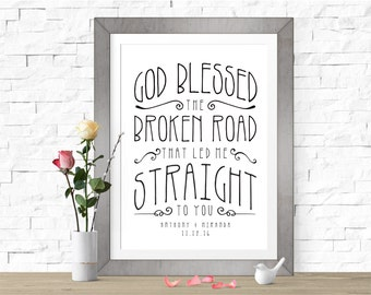 God Blessed the Broken Road | Rascal Flatts | DIGITAL FILE (Prints Available)| Personalized First Dance Lyrics | Custom Wedding Song