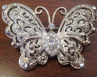 Handmade Sterling Silver and Rhinestone Butterfly Brooch