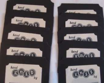 Set of 10 hand stamped hand knit tags