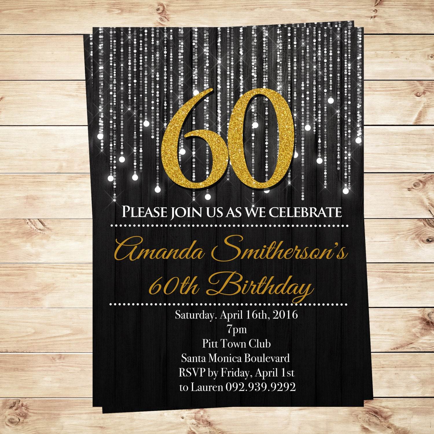 DIY Party Invitation Adult Birthday Gold And By