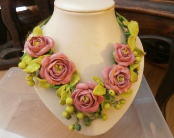 Spring-pink-soft pink roses CHARTREUSE green berries clear
