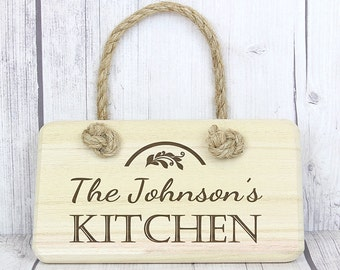 Kitchen Wooden Sign - Personalised - Perfect for New Home, Wedding, Birthday, Christmas