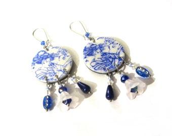 Earrings blue Geisha girl by 123 Fimo