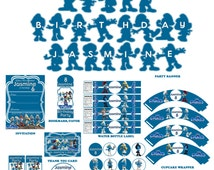 Smurfs DIY Personalized Digital Party Accessories Package--Instant Download
