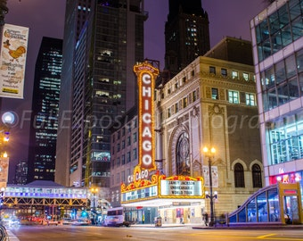 Chicago Theater building at night digital photography download, screensaver