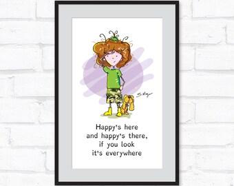 HAPPY'S EVERYWHERE Inspirational Poster, Colour, Digital Download, Free Bonus