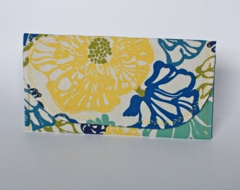 Blue and Yellow Floral Clutch