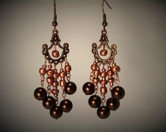 Copper & Pearl Chandelier Earrings