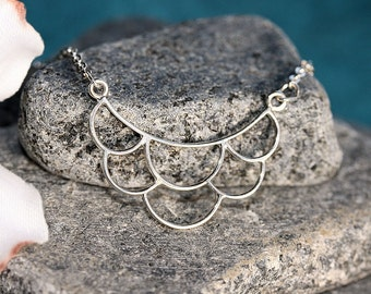 Scallops.....Sterling Silver, Feminine, Layering Necklace