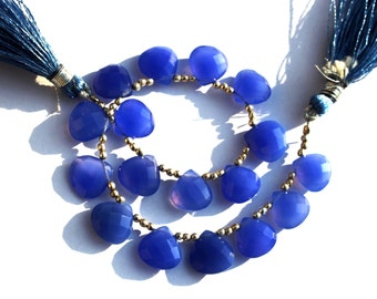 "8"" Long 11x11 mm Blue Chalcedony Faceted Heart Briolettes / Semiprecious Gemstone Beads, Chalcedony Beads Briolettes CH01"