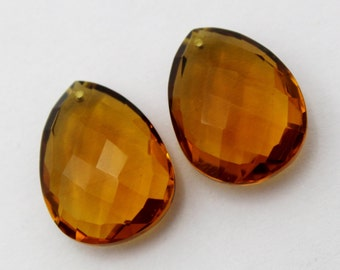 2 Pcs 1 Match Pair 21x15 mm Beer Quartz Faceted Pear Briolettes, Earring Pair, Jewelry Making BR145